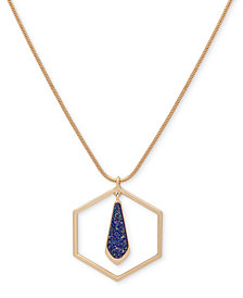 Ivanka Trump Gold-Tone Octagon Glitter Long Pendant Necklace