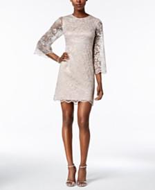 ivanka trump metallic lace bell sleeve dress