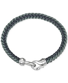 Woven Leather Bracelet in Stainless Steel, Created for Macy's