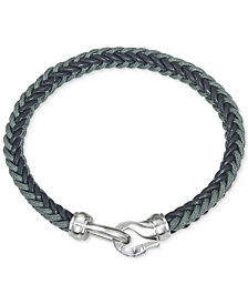 Esquire Men's Jewelry Woven Leather Bracelet in Stainless Steel, Created for Macy's