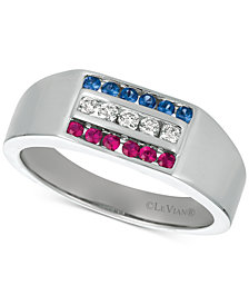 Le Vian® Gents™ Men's Multi-Gemstone & Diamond (1/6 ct. t.w.) Ring in 14k White Gold