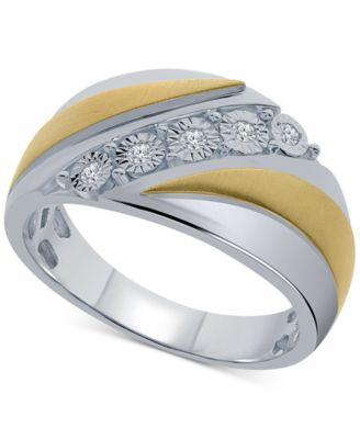 Mens Diamond Ring Sterling Silver or Yellow Gold Plated Silver