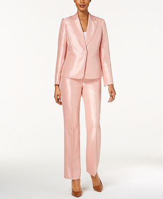 Le Suit One Button Shimmer Pantsuit Wear To Work Women Macy S