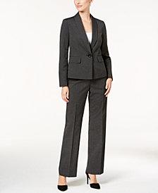 Le Suit Micro-Stripe Shawl-Collar Pantsuit