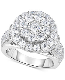 TruMiracle® Diamond Double Halo Engagement Ring (3 ct. t.w.) in 14k White Gold