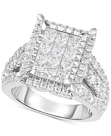 Diamond Square Halo Cluster Ring (3 ct. t.w.) in 14k White Gold