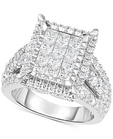 TruMiracle® Diamond Square Halo Cluster Ring (3 ct. t.w.) in 14k White Gold