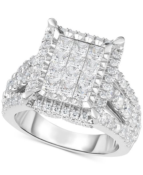 TruMiracle Diamond Square Halo Cluster Ring (3 Ct. T.w