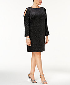 Jessica Howard Plus Size Velvet Metallic-Print Cold-Shoulder Dress