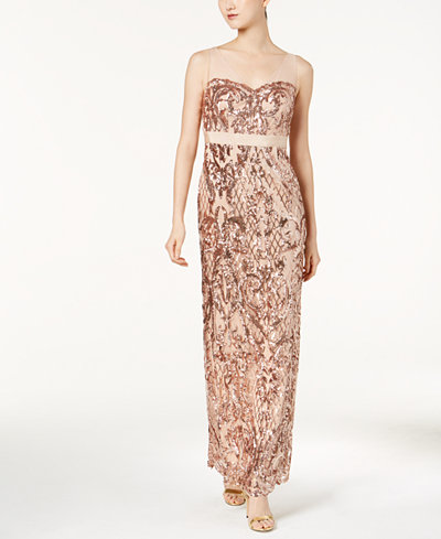 Adrianna Papell Sequined Mesh Gown