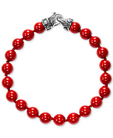 Scott Kay Men's Red Shell Pearl (8mm) Bead Bracelet in Sterling Silver
