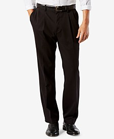 Men's Easy Classic Pleated Fit Khaki Stretch Pants