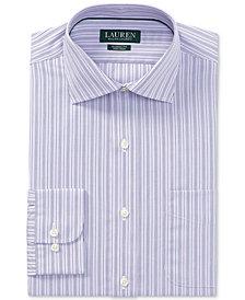 Lauren Ralph Lauren Men's Classic/Regular Fit Non-Iron Grape/White Stripe Dress Shirt