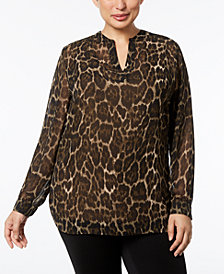 Anne Klein Plus Size Split-Neckline Animal-Print Blouse