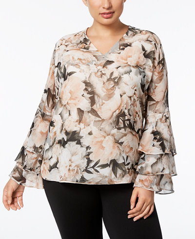 Calvin Klein Plus Size Floral-Print Ruffled Bell-Sleeve Top
