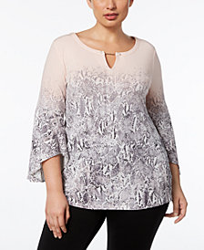 Calvin Klein Plus Size Toggle-Chain Ombré-Print Tunic