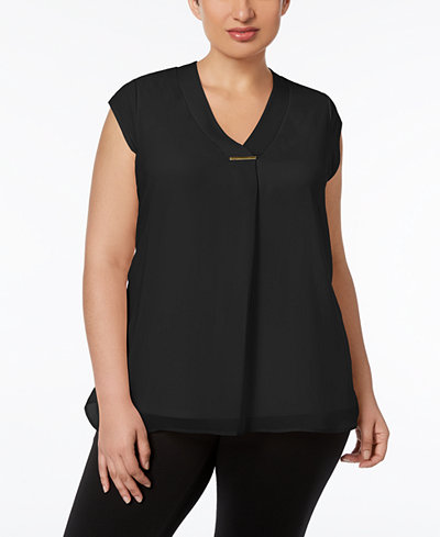 Calvin Klein Plus Size Draped Cap-Sleeve Blouse