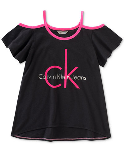 Calvin Klein Cold Shoulder Logo Cotton T-Shirt, Big Girls