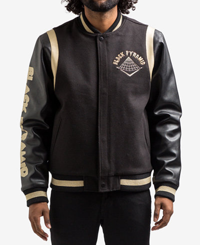 Black Pyramid Men S Drip Logo Varsity Jacket Coats Amp Jackets Men Macy S