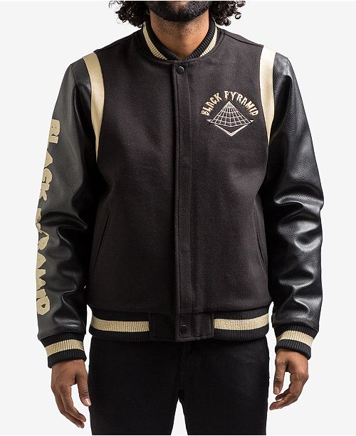 3055a9c71 Black Pyramid Men s Drip Logo Varsity Jacket - Coats   Jackets - Men ...
