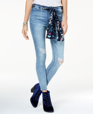 Rampage Juniors' Grommet Scarf-Belt Ripped Skinny Jeans 5363683