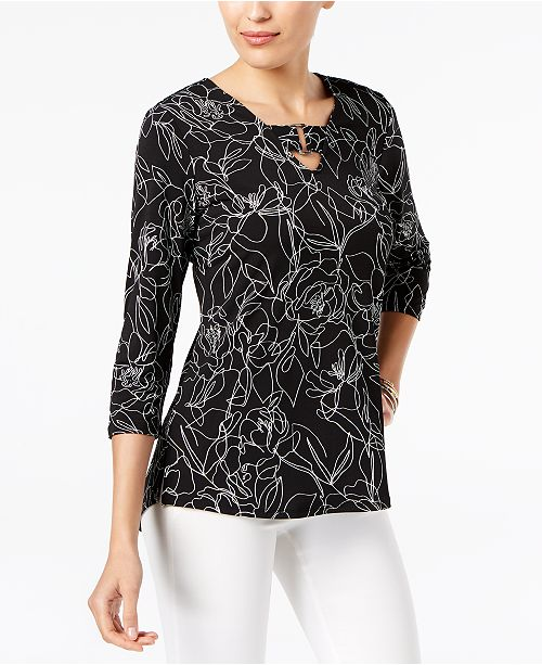 Petite Printed Buckle-Detail Tunic, Created for Macy's