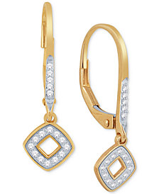 Diamond Square Drop Earrings (1/10 ct. t.w.) in 10k Gold