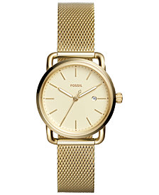 Fossil Women's Commuter Gold-Tone Stainless Steel Mesh Bracelet Watch 34mm