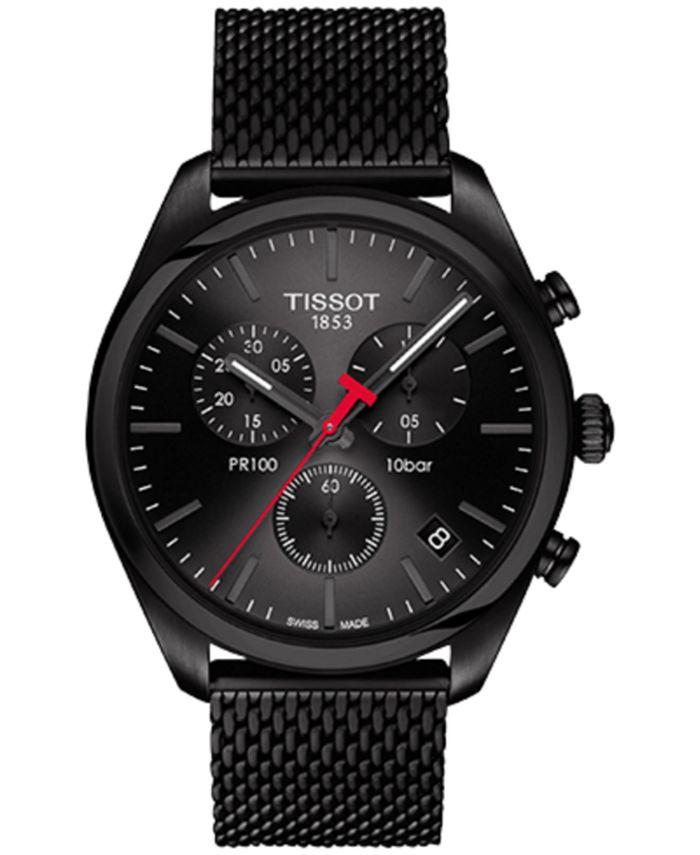 Tissot - Men's Swiss Chronograph T-Classic PR 100 Black PVD Stainless Steel Mesh Bracelet Watch 41mm
