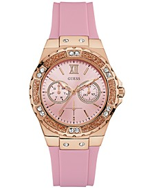 Women's Pink Silicone Strap Watch 40mm