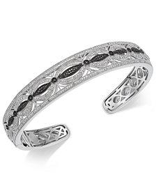 Diamond Filigree Openwork Bangle Cuff Bracelet (3/8 ct. t.w.) in Sterling Silver
