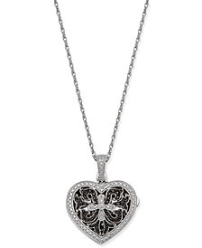 Diamond Locket Pendant Necklace (1/10 ct. t.w.) in Sterling Silver