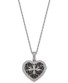 Diamond Locket Pendant Necklace (1/10 ct. t.w.) in Sterling Silver