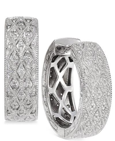 Diamond Huggie Hoop Earrings (1/4 ct. t.w.) in Sterling Silver