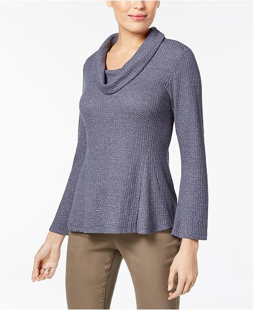 Petite Cowl-Neck Waffle-Knit Top, Created for Macy's