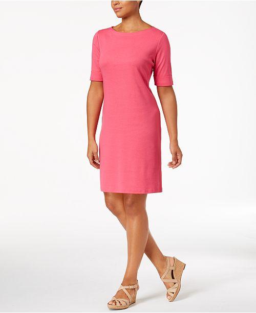 Karen Scott Petite Cotton Elbow-Sleeve Dress, Created for Macy's