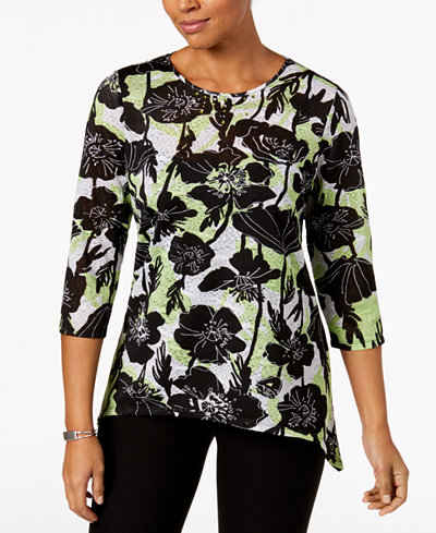 Alfred Dunner In The Limelight Embellished Asymmetrical Top