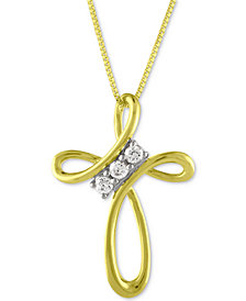 Diamond Cross Pendant Necklace (1/10 ct. t.w.) in 10k Gold