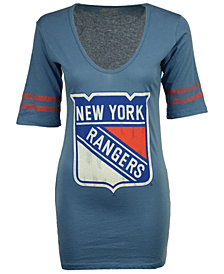 Retro Brand Women's New York Rangers Vintage Sleeve Stripe T-Shirt