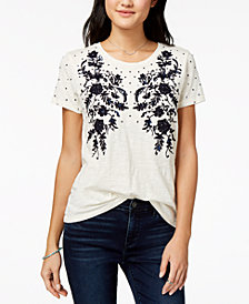 Lucky Brand Embroidered Sequin-Embellished T-Shirt