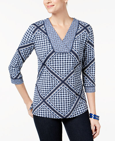 Charter Club Petite Mixed-Print Top, Created for Macy's