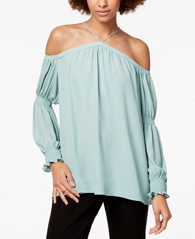 1.STATE Off-The-Shoulder Smocked-Sleeve Top