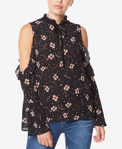 Buffalo David Bitton Floral-Print Cold-Shoulder Top