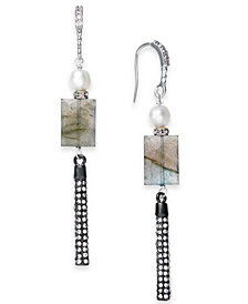 Paul & Pitü Naturally Two-Tone Pavé, Gray Stone & Imitation Pearl Linear Drop Earrings