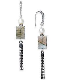 Paul & Pitü Naturally Two-Tone Pavé, Gray Stone & Imitation Pearl Linear Drop Earrings