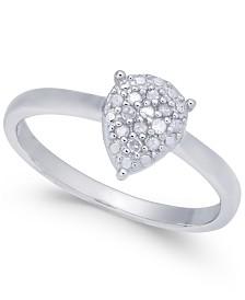 Diamond Cluster Teardrop Ring (1/10 ct. t.w.) in Sterling Silver