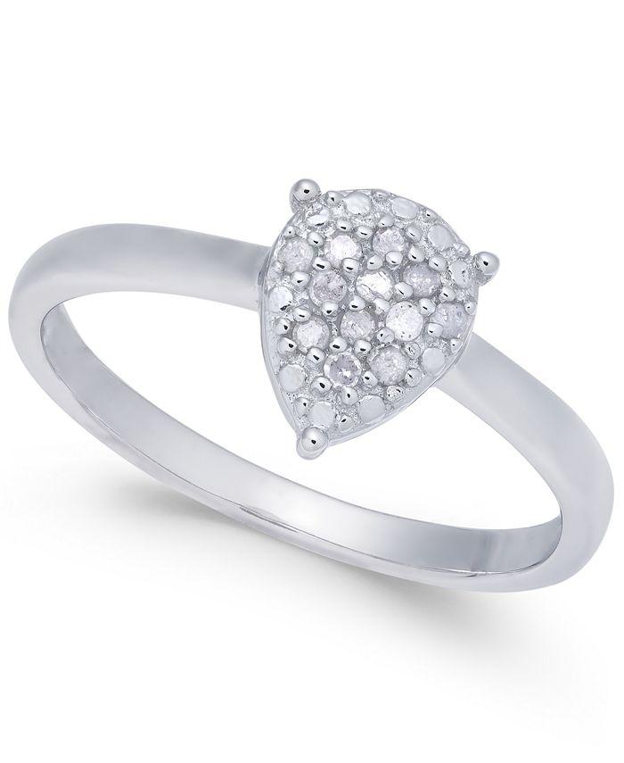 Macy's - Diamond Cluster Teardrop Ring (1/10 ct. t.w.) in Sterling Silver