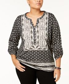 Style & Co Plus Size Cotton Mixed-Print Peasant Top, Created for Macy's