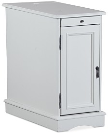 Butler Accent Table with USB Charging Station, Quick Ship