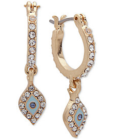 lonna & lilly Gold-Tone Pavé Mini Hoop Drop Earrings